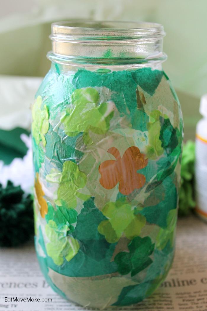 tissue paper mod podge onto jar