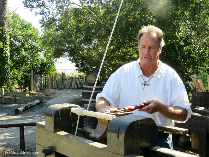 woodworking - using a gouge to make chair and table legs - Roanoke Island Festival Park