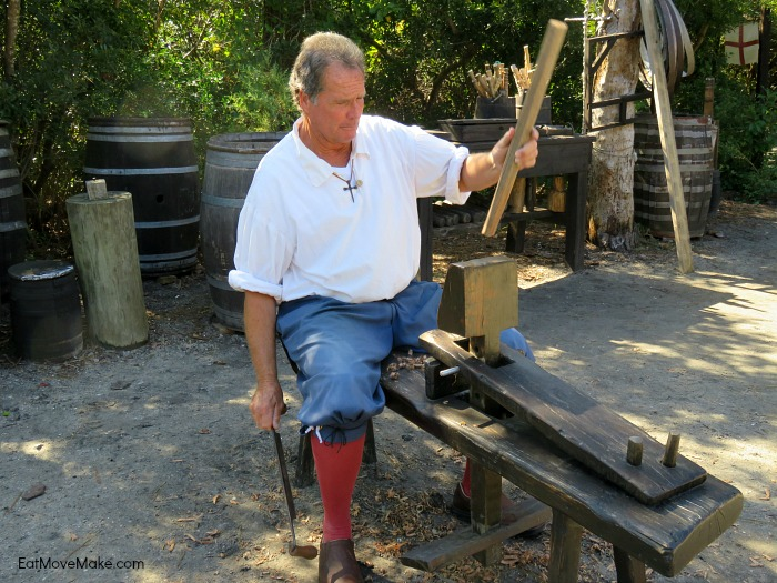 woodworking with a draw knife - Roanoke Island Festival Park