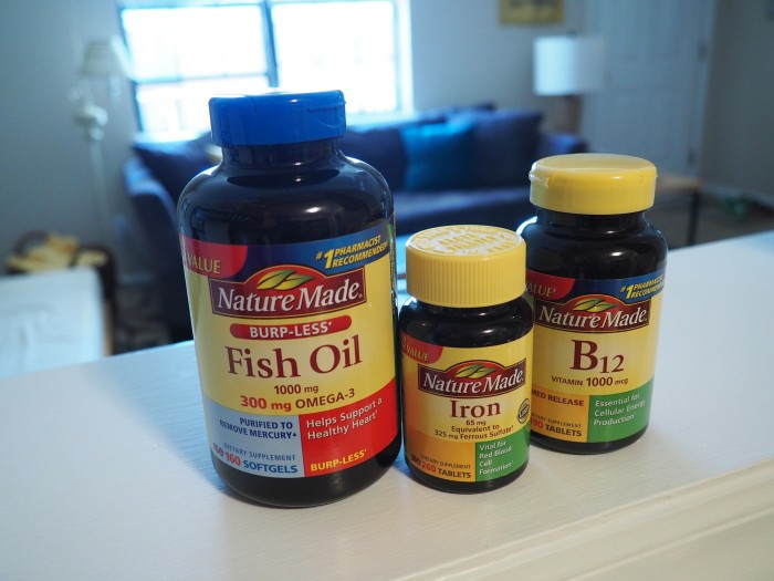 Nature Made fish oil, iron, B12