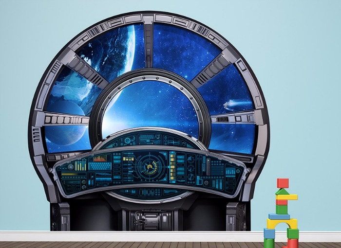 blue space station window wall sticker - DIY room decor from Wall-Ah