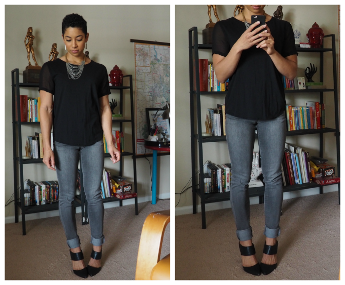 thredUP jeans and tee
