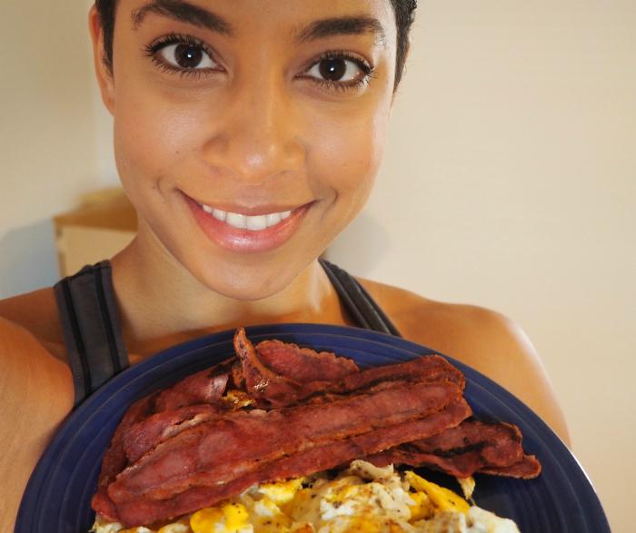 Eggs and turkey bacon