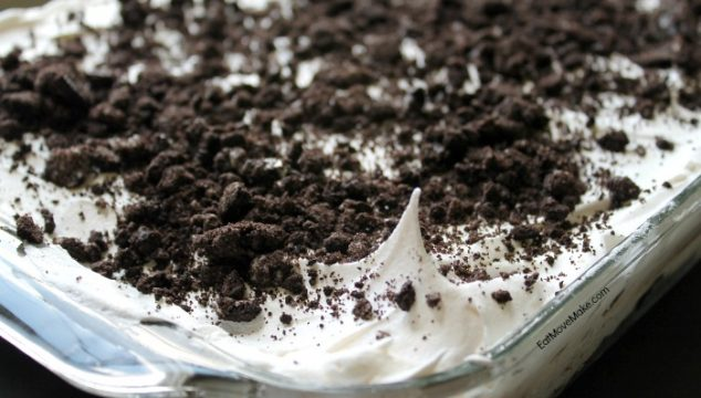 OREO Pudding Cake dessert - sweet, creamy chocolate pudding, cream cheese and whipped topping with the bittersweet cocoa taste of OREO cookies