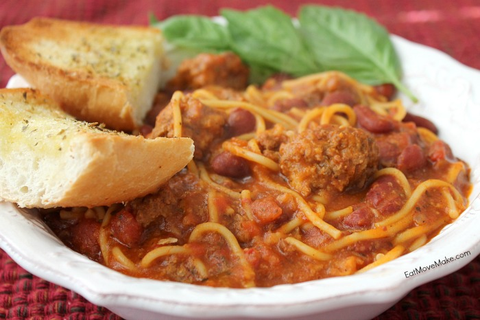 Slow Cooker Homestyle Spaghetti Noodle Soup with Meatballs recipe