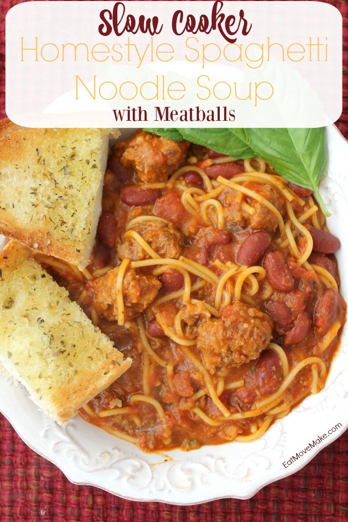 Slow Cooker Homestyle Spaghetti Noodle Soup with Meatballs