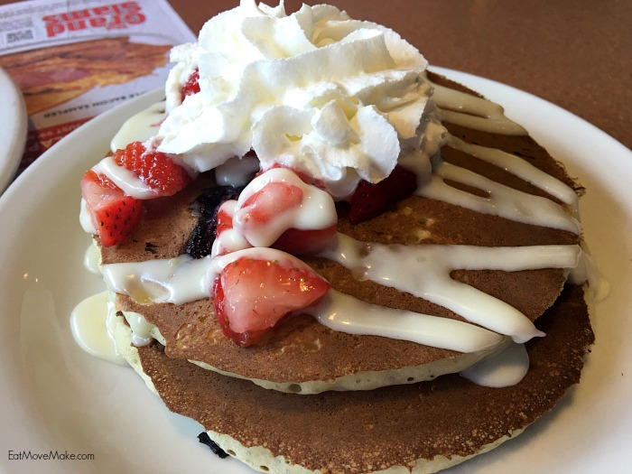 red, white and blue pancakes - Denny's