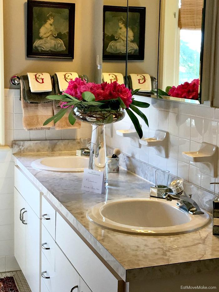bathroom flower arrangement - Historic Garden week at Fort Monroe
