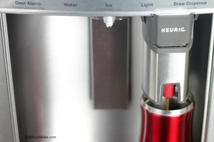GE fridge with Keurig brewer