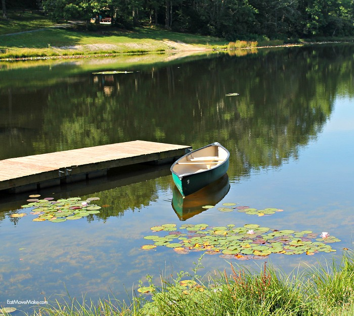 wildcat-lake-banner-elk-nc-rowboat-and-lily-pads