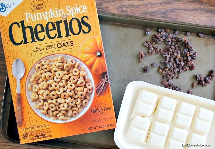 ingredients for Cheerios Pumpkin Spice Bark