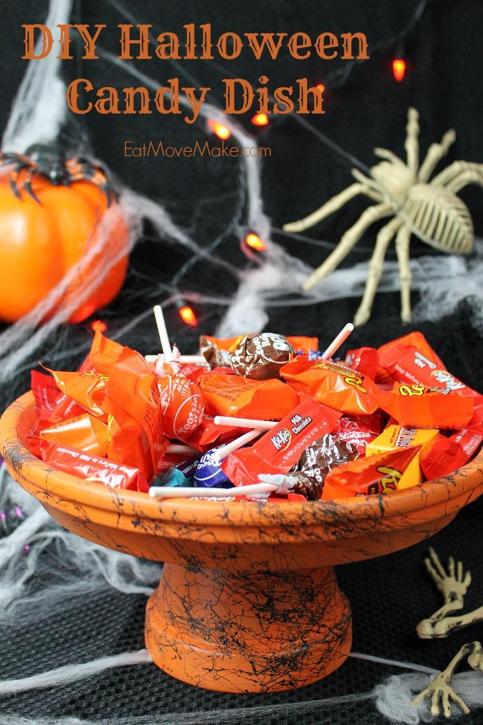 Diy Halloween Candy Dish With Easy Spiderweb Design
