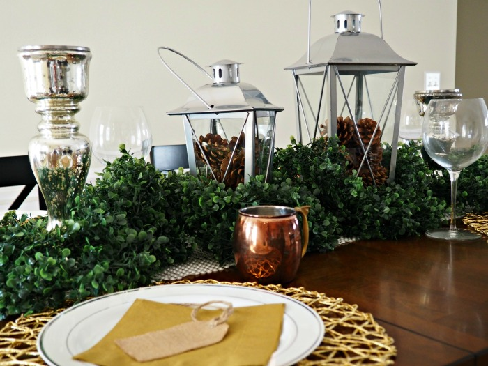 Rustic Glam Christmas Tablescape boxwood garland progress pic