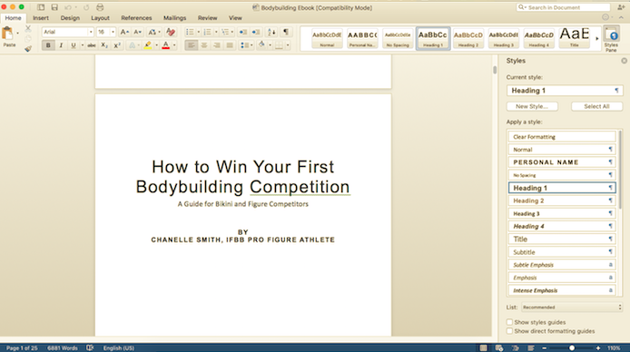 How to write an ebook: Formatting with styles pane Microsoft Word
