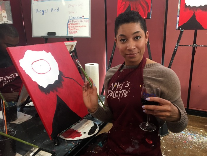 Pinot's Palette Chanelle with wine