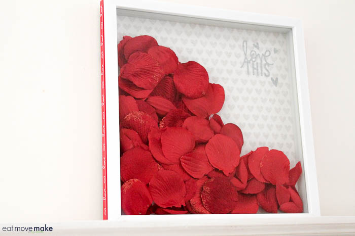 Valentine's Day shadow box with rose petals