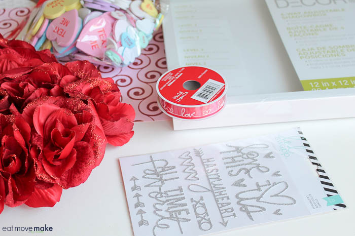 craft supplies to make valentines day shadow box