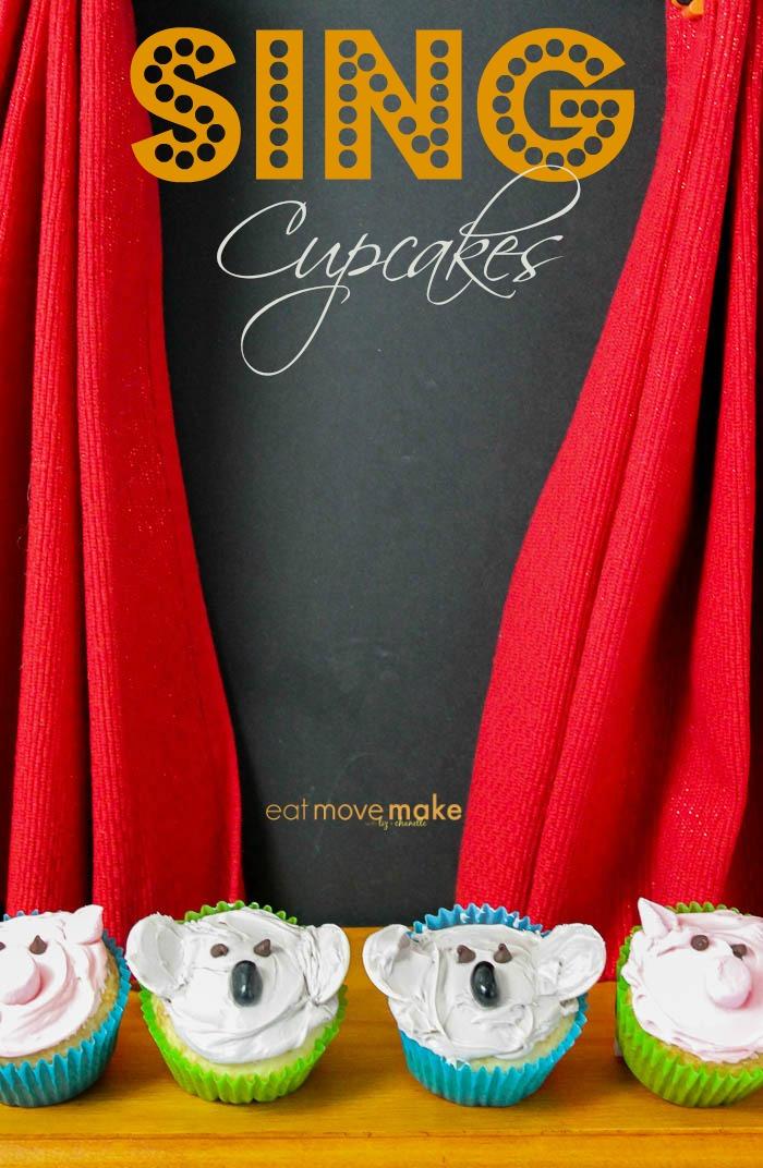 SING movie cupcakes - pig cupcakes, koala cupcakes