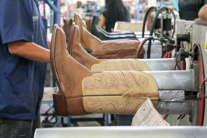 ironing the boots at Lucchese