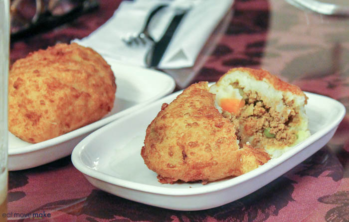 Papas rellenas with beef and chicken