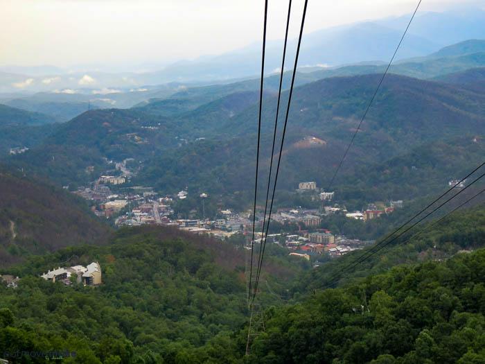 view of Gatlinburg TN from Ober Gatlinburg aerial tram