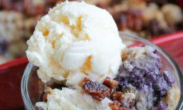 Blueberry Bread Pudding with Candied Bacon