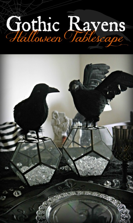 Halloween raven tablescape gothic crows