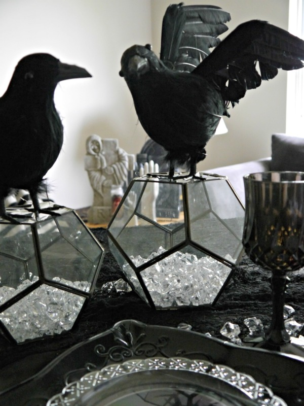Halloween raven tablescape