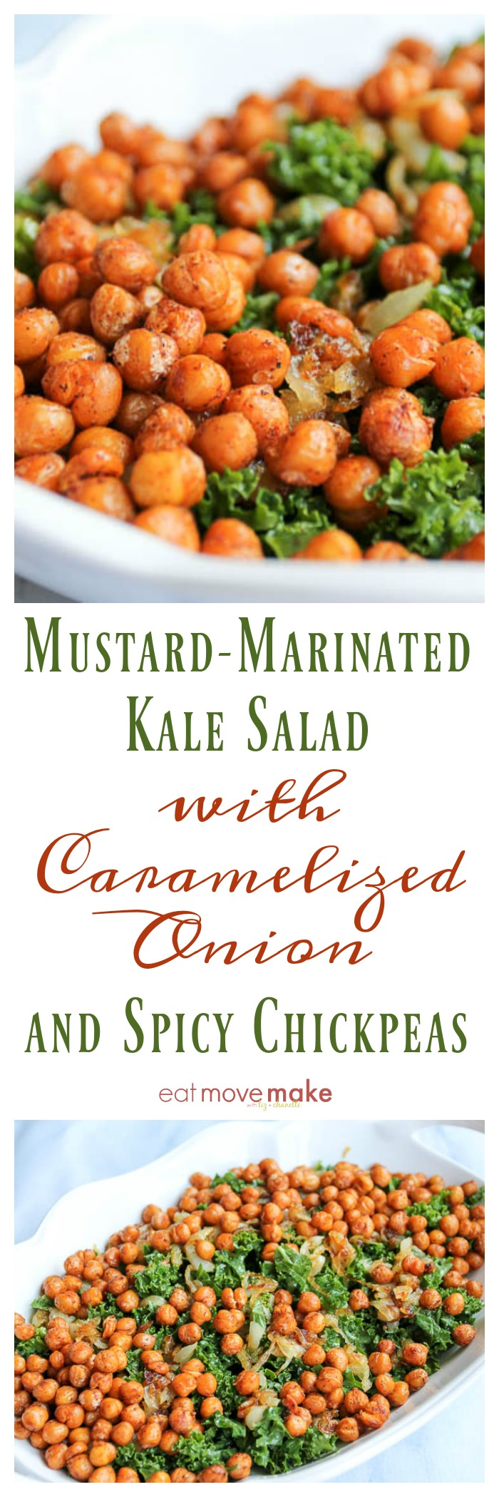 Mustard-Marinated Kale Salad with Caramelized Onion and Spicy Chickpeas