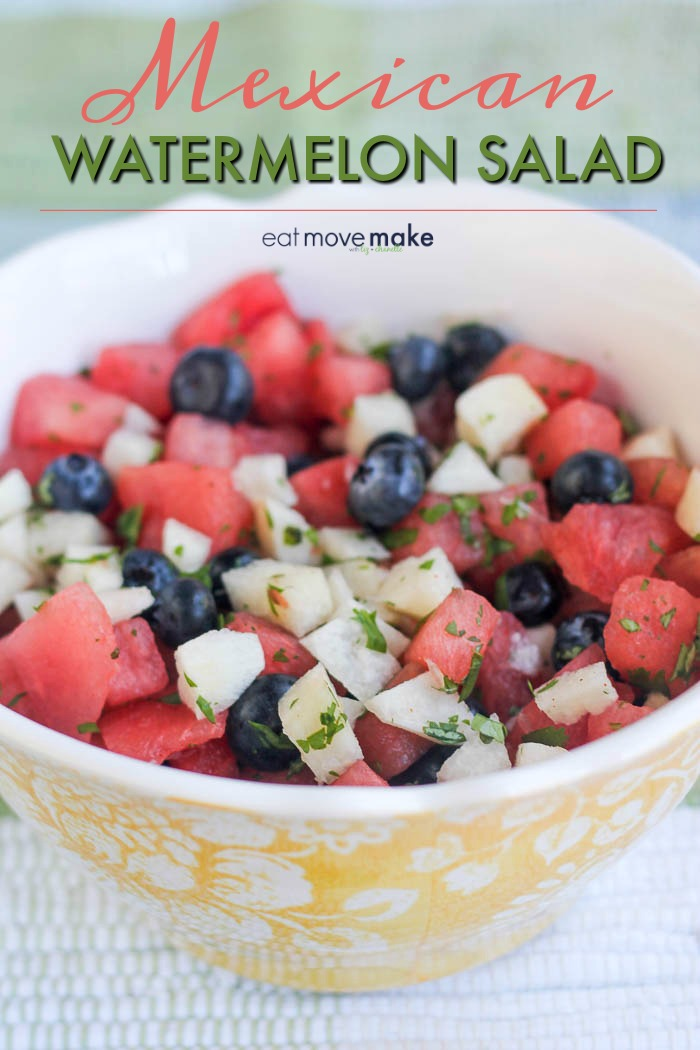 Mexican watermelon salad recipe with jicama and blueberries