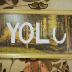 Upcycled Thrift Store Statement Art : YOLO!