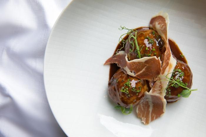 Turkey ham and swiss meatballs - Charlie Palmer recipe from Aureole