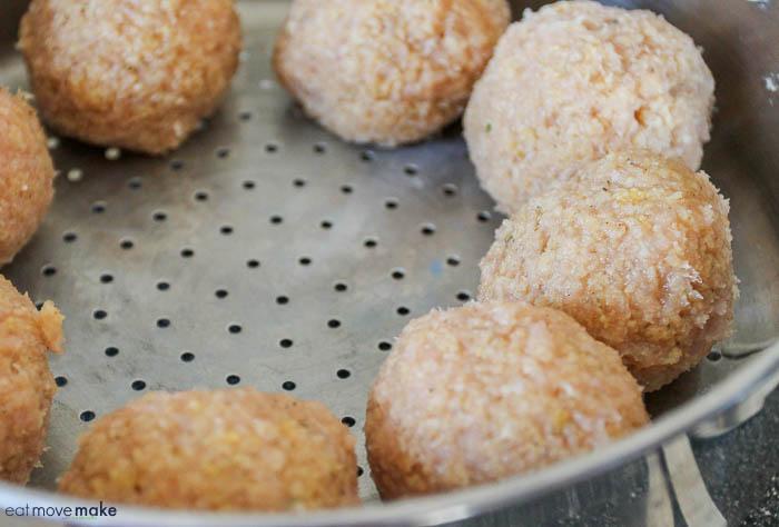 steaming turkey meatballs