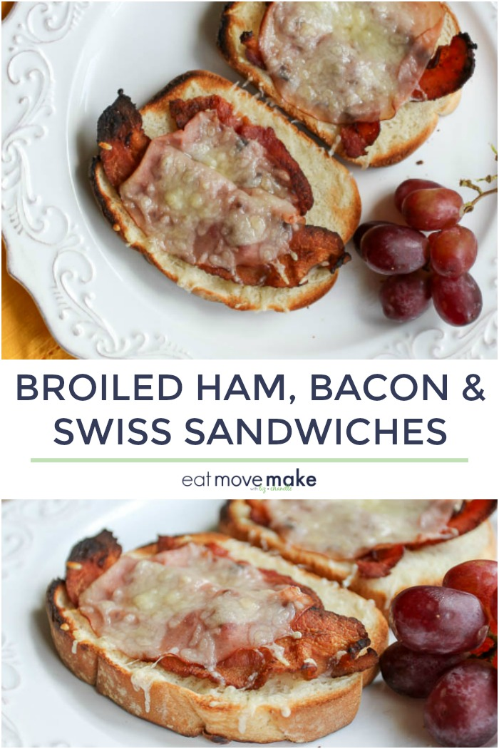 broiled ham, bacon and Swiss sandwiches