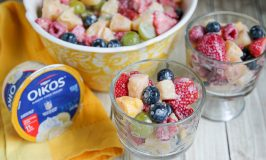 Quick and Easy Fruit Salad with Banana Cream Yogurt Dressing