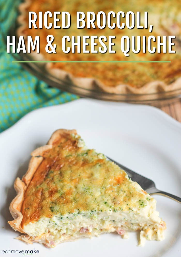 riced broccoli ham and cheese quiche