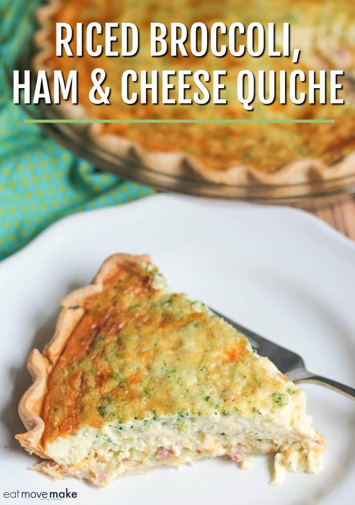 riced broccoli ham and cheese quiche