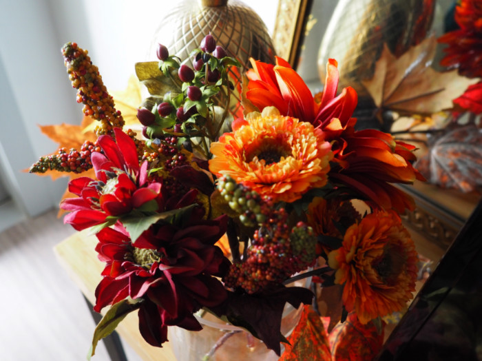 Nearly Natural fall Dahlia and Mum Vase