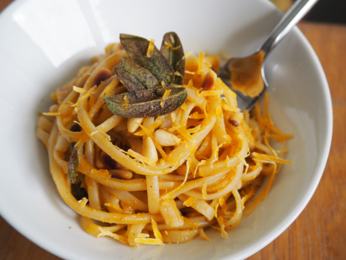 Pumpkin Pasta with Crispy Fried Sage and Pine Nuts