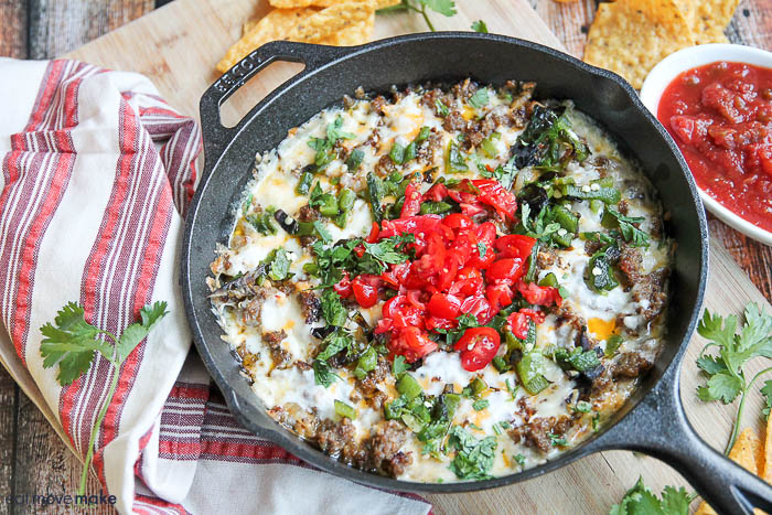 queso fundido in skillet