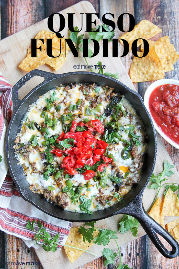 queso fundido in skillet on table