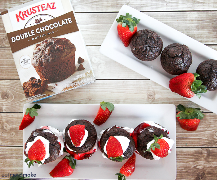 double chocolate muffins and double chocolate strawberry shortcake muffins