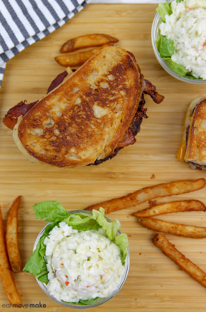 grilled cheese patty melt with french fried onions