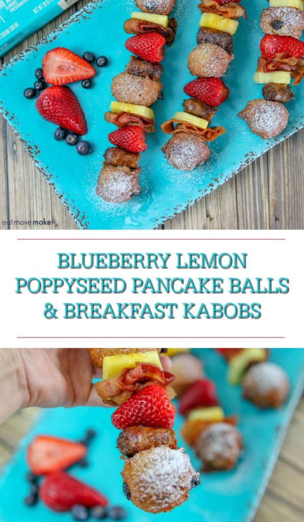 Blueberry Lemon Poppyseed Pancake Balls and Breakfast Kabobs