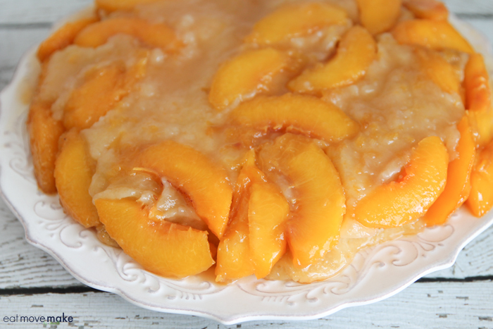 upside down peach cake on plate