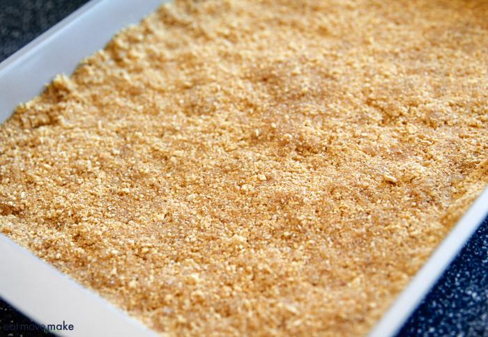 blackberry cream cheese dessert - graham cracker crust on bottom
