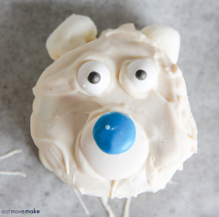 close-up of polar bear cookie