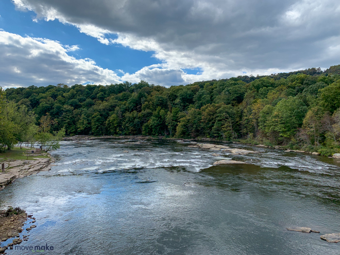 view of Yough from pedestrian bridge in Ohiopyle