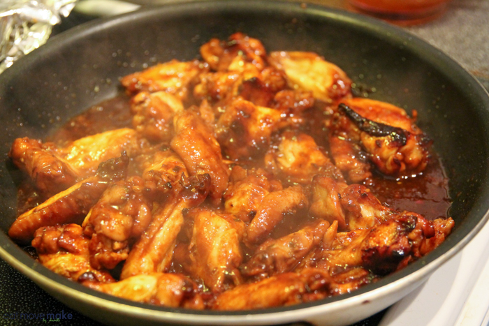 chicken wings on stove