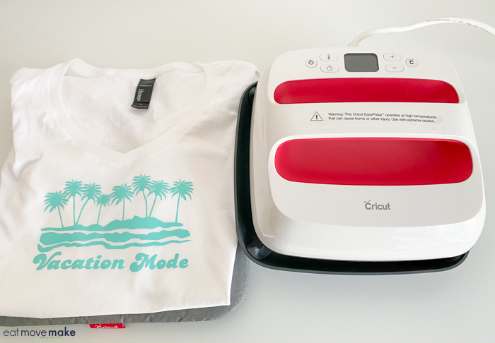 Cricut Easy Press vacation mode tshirt
